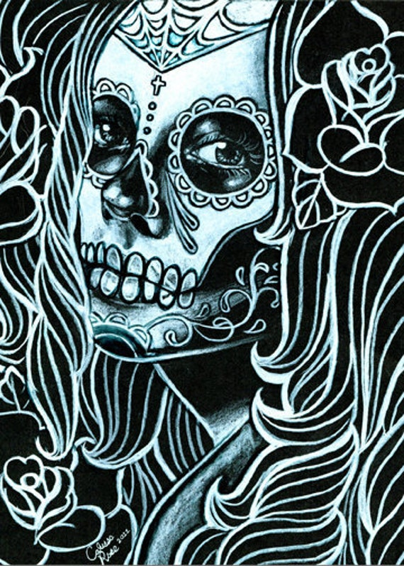 Bella Morte Signed Art Print By Carissa Rose 5x7, 8x10, or 11x14 Black and White Day of the Dead Sugar Skull Girl