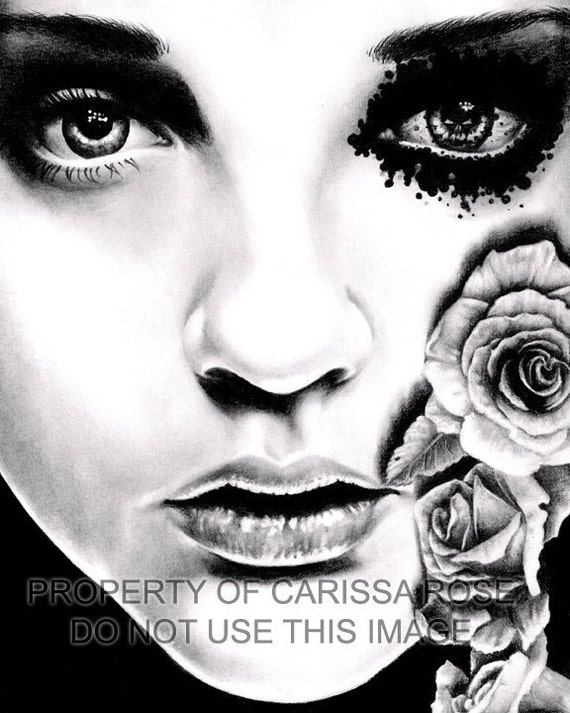 40 PERCENT OFF Horror Signed Art Print Dark Lowbrow Black and White Pretty - Rose of the Devils Garden Art Print By Carissa Rose 5x7, 8x10,