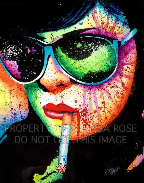 Pop Art Signed Print Poster Punk Rock PopArt Horror Splatter Portrait - At A Glance - Girl Smoking Cigarette Rainbow 5x7, 8x10, or 11x14