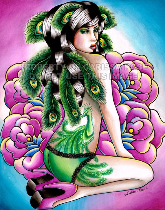 Tattoo Pin Up Art Print - Signed - Promises - Pin Up Girl with Peacock Tattoo and Feathers Art Print By Carissa Rose