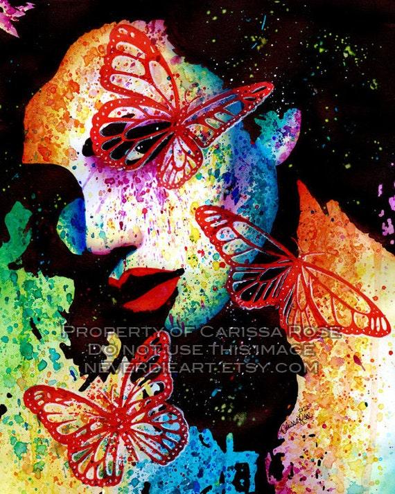 PopArt Butterfly Colorful Pretty Portrait Signed Art Print - 5x7, 8x10, or 11x14 Fury - Edgy Punk Rock Fashion Rainbow Pop Art Portrait