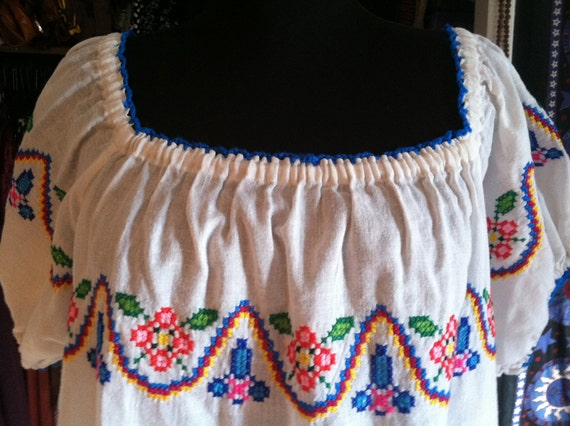 Gorgeous Colorful Embroidered Ethnic Peasant Top M-XL