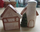 Vintage Cottage House Salt and Pepper Shakers