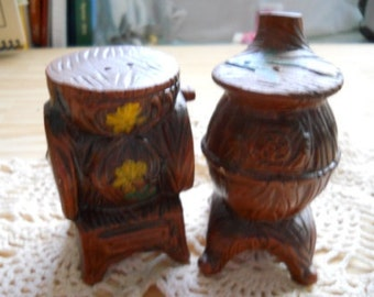 Glass Spinning Wheele and Pipe Stove Salt and Pepper Shakers - Vintage,Collectible