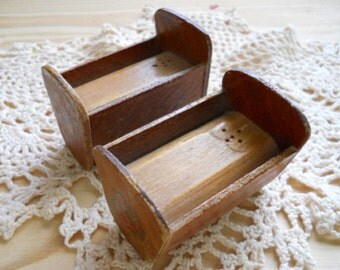 Wooden Cradle Salt and Pepper Shakers - Vintage, Collectible