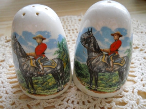 Canadian Mountee Salt and Pepper Shakers - Souvenir, Vintage and Collectible