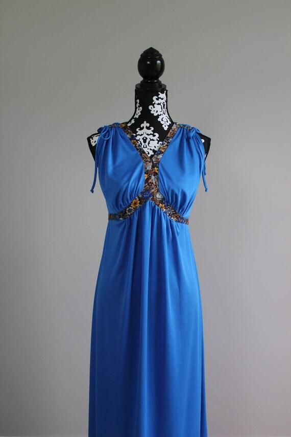 1960s blue grecian sleeveles maxi dress SIZE M