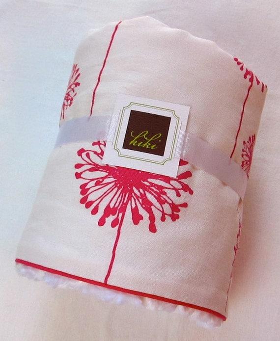Baby Blanket Fuschia Dandelion/Minky