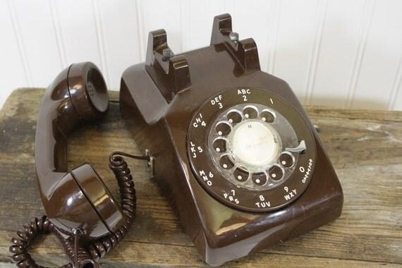 Rotary Desk Phone - Brown