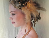 Flapper Style Headpiece Chocolate and Taupe