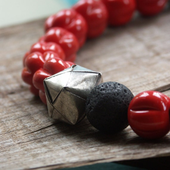 Silver origami beads, red glass asymmetric necklace