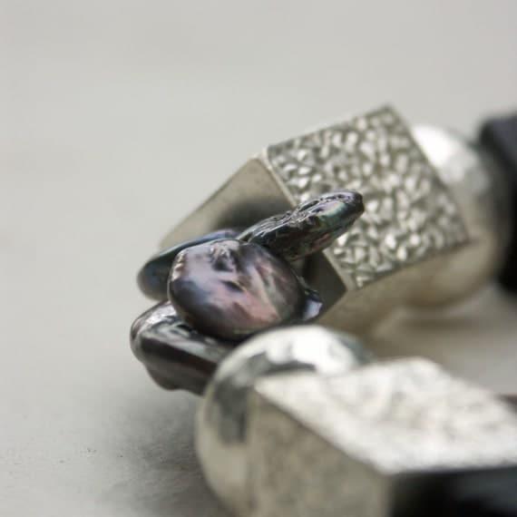Silver, Lava, Pearl Asymmetric Adjustable Necklace