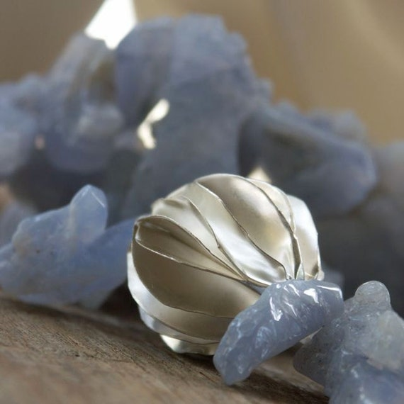 Folded Silver, Chalcedony, Asymmetric, Adjustable Necklace - The Incoming Storm