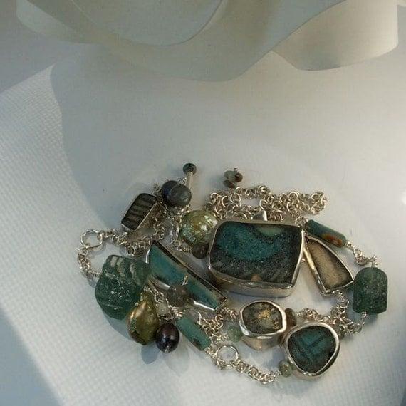 Antique Shard, Roman Glass, Long Silver Asymmetric Necklace