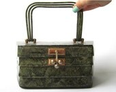 50s Lucite Purse by Myles Originals with Confetti green (gold thread)