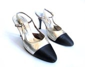 Marshall Fields Shoes silver/satin Vintage sling backs sz 7