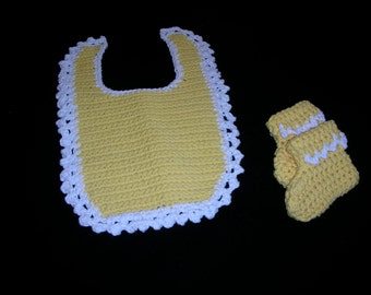 Crocheted Bib and Bootie Set