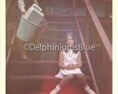 Digital Scan // Vintage // Color Photo // Girl on Stairs