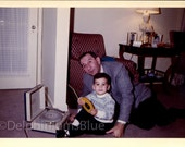 Digital Scan, Color Photo, Found Photo, Mad Men Era,  Man with Boy,  Child's Record Player  0951