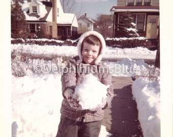 Vintage Photo, Small Girl Holding Giant Snowball, Plaid Hooded Winter Jacket, Snowy Sunny Day, Color Photo , Snapshot, Found Photo