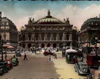 Digital Download, Postcard-Tinted, Paris France, Printable, Color Photo, Found Postcard, Travel Ephemera, Vintage Cars, Pedestrians