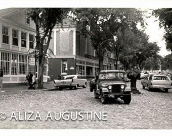 Main Street Nantucket 1966, Digital Scan, Vintage Photo,  Summer on Nantucket, Land Rover, Jeep          0026