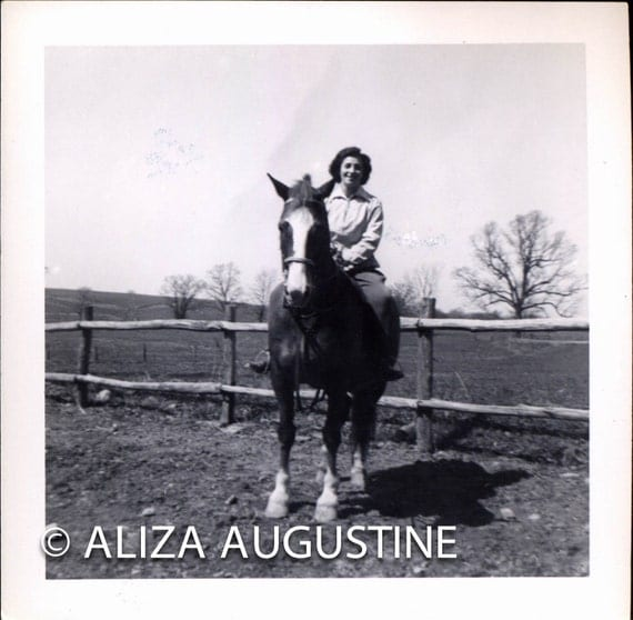 Digital Scan of Vintage Black and White Photo Woman Riding Horse next to Rustic Fence   0523.jpg