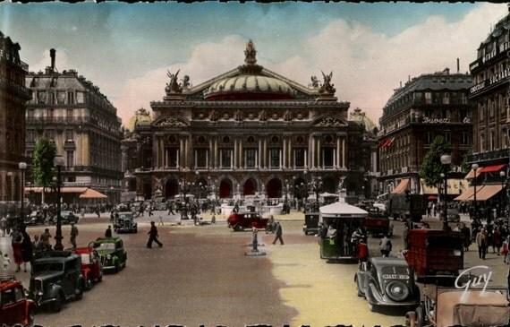 Instant Download, Postcard-Tinted, Paris France, Digital Download, Color Photo, Found Postcard, Travel Ephemera, Vintage Cars, Pedestrians
