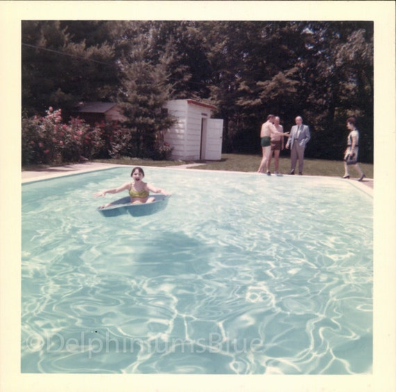 Instant Download, Girl in Bathing Suit, Swimming Pool, Aqua Water, Water Reflections, Vintage Color Photo, 1960's Photo, Snapshot 0592
