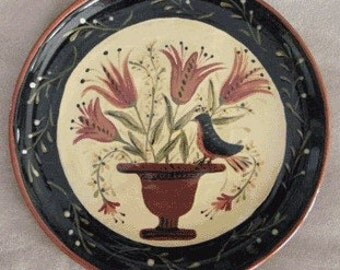 Folk art floral with bird