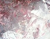 Art Print. Modern Abstract Painting. SOMETHINGdebussy Art on Etsy- 5x7-Hana-Fubuki- Sakura blossom feathers romantic grey journey Series 131