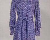 Vintage 1970s INDIA Authentic Deadstock Purple Cotton Shirtwaist Dress