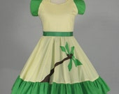 Vintage 1970s Yellow and Green Tropical Palm Tree Rockabilly Square Dance Swing Dress L/XL