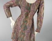 Vintage 1970s INDIA Authentic Deadstock Batik Hippie Boho Festival Mini Babydoll Dress