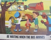 Be Waiting When The BUS ARRIVES - Disney Study Poster Print - Circa 1966