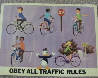 OBEY All TRAFFIC RULES - Vintage Classroom Poster - Disney Study Print Circa 1966