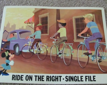 RIDE On THE RIGHT - Vintage Classroom Poster - Disney Study Print 1966
