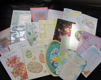 Lot of 19 Assorted Greeting Cards - Scrapbook Crafts Cutting - Easter