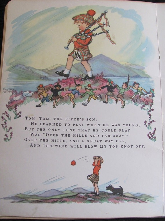 2 Sided Book Page From Large Vintage Child's Book - Illustrated by Molly Brett 1961 - NURSERY RHYMES