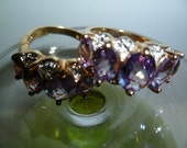 RESERVE listing two rings of Purple Amethyst Size 5 3/4 CZs Diamonds Violet Tanzanite