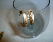 REDUCED 14K Earrings 10K Vintage Yellow Gold Posts Semi Hoops Etched Design