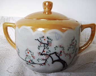 Gold Sugar Bowl Peach Lustre Vintage Noritake Nippon Cherry Blossoms, Made in Japan