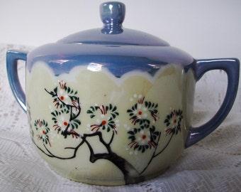 Blue Sugar Bowl 'n Lid Lusterware, Vintage Noritake Nippon Made in Japan