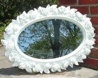 Ornate Mirror, Oval Mirror , White Roses,  Wall Mirror , Buy in White or Choose Your Color.27 x 19