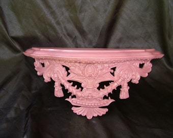 PINK Mauve Ornate Wall Shelf or Bed Crown  Shelf 17 x 7 x 6 Inches, Choose Color and Finish