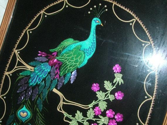 Peacock Vintage Sequin Beadedframed Wall By