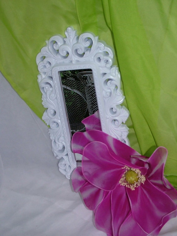 Ornate Upcycled White Accent Mirror  18 x 9 1/2 inches I have 2 of These Lovely Mirrors Hang Vertical or Horzontal