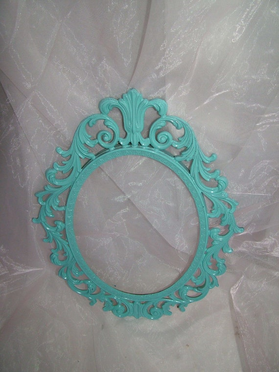 Aqua Shabby Cottage Metal Ornate Picture Frame or Princess Fairy Tale Wall Mirror 13 x10