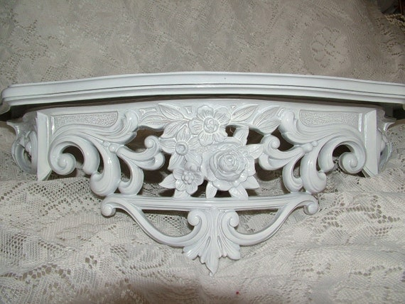RESERVE LAYAWAY for Cindy Shabby Cottage Bed Crown Wall Shelf Upcycled in a Brite Gloss White 19 x 8 Or Choose Color