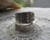"""Spoon Ring, Spoon Jewelry, Antique Silver Plate Spoon, """"Arcadia aka Margate"""" Wm Rogers, 1938"""